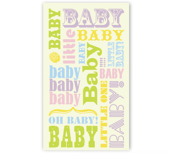 Mini Card: Baby Pastel Words