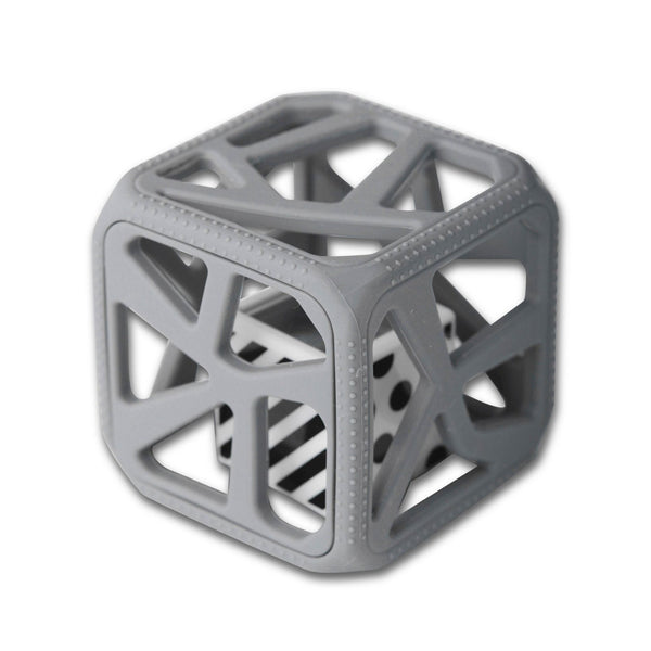 Chew Cube Teether & Rattle, Grey
