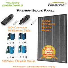 100w 100 Watt SuperBlack Mono Solar Panel + $10 Mounts for 12v Battery RV Boat