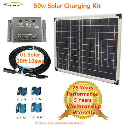 COMPLETE KIT 50w 50 Watts Polycrystalline Poly Solar Panel Charger 12v Battery