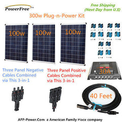 300w 300 Watt 3 100w Solar Panel Plug-n-Power Space Flex Kit 12v Battery RV Boat
