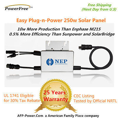 NEP Solar Microinverter 260w AC Panel 240vac as Enphase M215 Micro Inverter