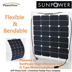 Semi-Flexible Bendable 50w 50 Watt Solar Panel 12v Battery Off Grid SunPower US