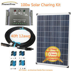 COMPLETE KIT 100w 100 Watt Photovoltaic Solar Panel 12v Battery RV Boat Off Grid
