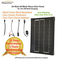 BLACK Plug-Power 10w 10 Watt Mono Solar Panel + $8 Adaptor - 12v Battery RV Boat
