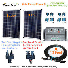 200w 200 Watt 2 100w Solar Panel Plug-n-Power Space Flex Kit 12v Battery RV Boat