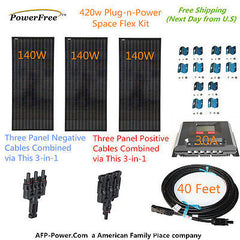 Three 140w 140 Watt Solar Panels 420w Mono Plug-n-Power Charge Kit 12v Battery