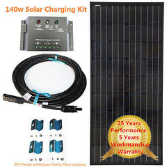 Super Black COMPLETE KIT 140w 140 Watt Mono Solar Panel Kit 12v Battery Off Grid