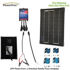 COMPLETE KIT Plug-n-Power BLACK 10W 10 Watt Mono Solar Panel 12v Battery RV Boat