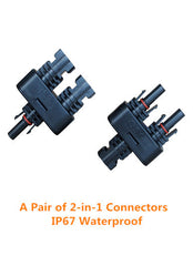 Pair of 2-in-1 IP67 MC4 Connectors