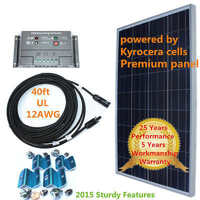 COMPLETE KIT Solar 150w 150 Watt Panel  for 12v Battery RV Boat eGSP