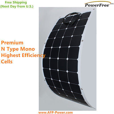 Semi Flexible Bendable 135w 135 Watt Lightweight Solar Panel 12v Battery OffGrid