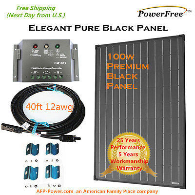 SuperBlack 100w 100 Watts Monocrystalline Mono Solar Panel Kit for 12v Battery