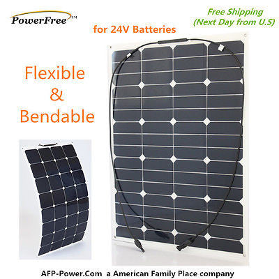 Semi-Flexible Bendable 60w 60 Watt Lightweight Solar Panel 24v Battery Off Grid