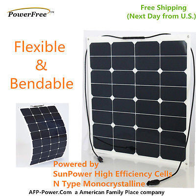 Semi-Flexible Bendable 50w 50 Watt Lightweight Solar Panel 12v Battery Off Grid
