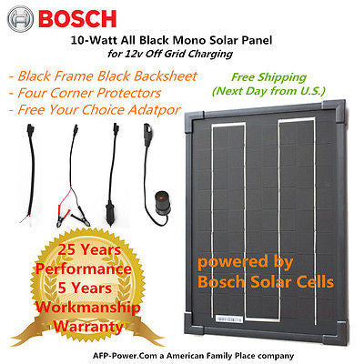 Bosch Plug-n-Power 10w 10 Watt Mono Solar Panel 12v Battery RV Boat