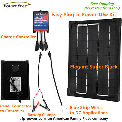 10w 10 Watt Monocrystalline Mono Solar Panel Charger Kit 12v Battery G Afp Power