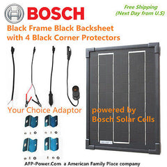 Bosch 10w 10 Watt Mono Cell Solar Panel+$8 Adaptor+$10 Mount RV Boat 12v Battery