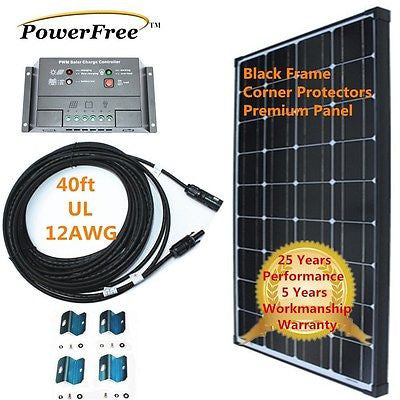 COMPLETE KIT Black Frame 100w 100 Watt Mono Solar Panel for 12v Battery RV Boat