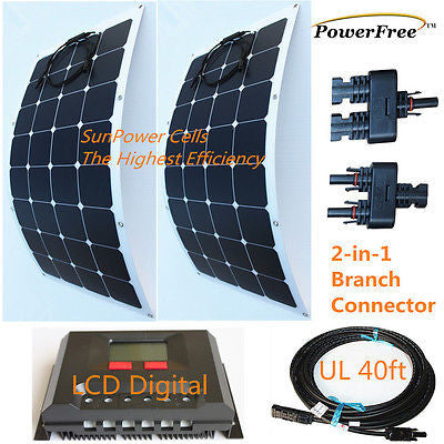 Semi-Flexible Bendable Lightweight 200w 200 Watt Solar Panel Kit for 12v Battery
