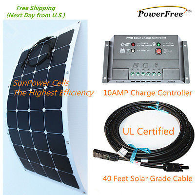 Semi-Flexible Bendable Lightweight 100w 100 Watt Solar Panel Kit for 12v Battery