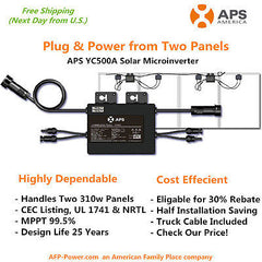 APS YC500A Microinverter for upto Two 310w Solar Panels ($0.435/w) by APS Dealer
