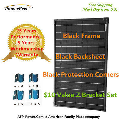 SUPER BLACK 40w 40 Watts Mono Solar Panel + Free $10 Mount - 12v Battery Global