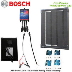 Bosch COMPLETE KIT 10W 10 Watt Mono Solar Cell Panel Kit for 12v Battery RV Boat