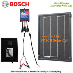 Bosch BLACK Plug-Power 10W 10 Watt Mono Solar Cell Panel Kit 12v Battery Global