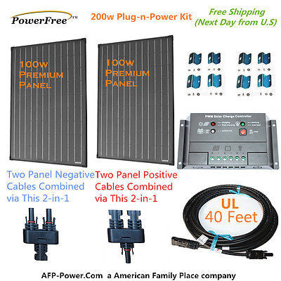 SuperBlack 200w 200 Watt 2 100w Monocrystaline Solar Panel Kit for 12v Battery
