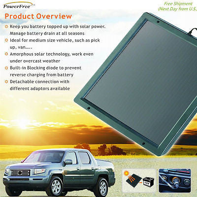 4.8w Solar Trickle Charger  Pickup Van Boat Marine Auto 12V Battery- Global Ship