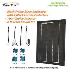 SuperBlack 10w 10 Watt Mono Solar Panel+$8 Adaptor+$10 Mount RV Boat 12v Battery
