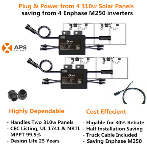 Complete 2 YC500A microinverter Kit for 4 310w Solar Panels (Free Shipping No Sales Tax) $0.37/W