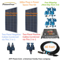 Two 150w 150 Watt Solar Panels 300w Mono Plug-n-Power Charge Kit -12v Battery RV