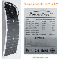 Semi-Flexible Bendable 30w 30 Watt Solar Panel 12v Battery Off Grid