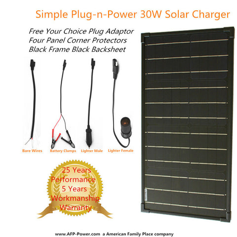 Plug-n-Power BLACK 30W 30 Watt Mon Solar Panel + $8 Adaptor 12v Battery Charger