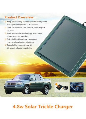4.8w Solar Trickle Charger for Medium Size Vehicles