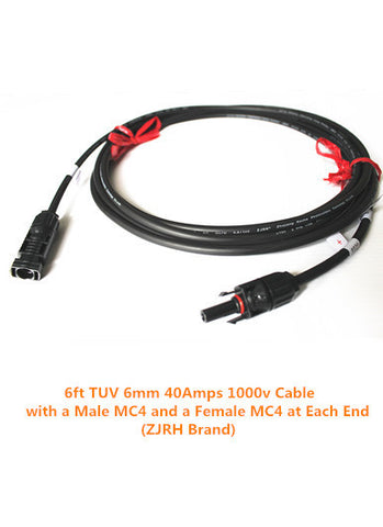 6ft TUV 6mm 40A 1000V Cable with MC4 Connectors