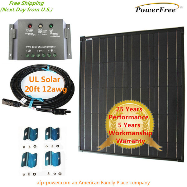 Complete Kit Super Black 80w 80 Watt Mono Solar Panel 12v