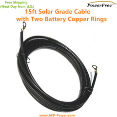 15ft 12AWG 30A 600V Cable with Battery Copper Rings