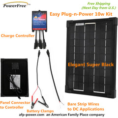 Plug-n-Power Black 10W 10 Watt Mono Solar Panel Charger Kit 12v Battery RV Boat
