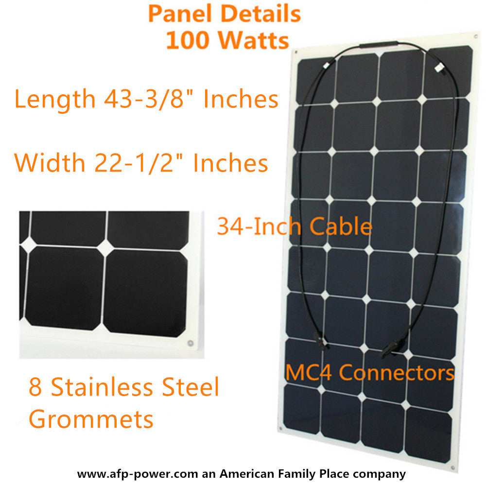 Semi Flexible Bendable 100w 100 Watt Solar Panel 12v