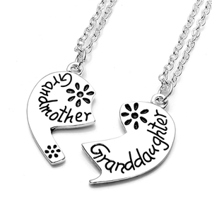 Love Heart Grandmother Granddaughter Pendant Necklace
