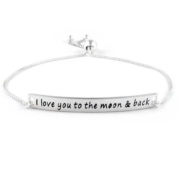 Sterling Silver I Love You to the Moon & Back Bracelet