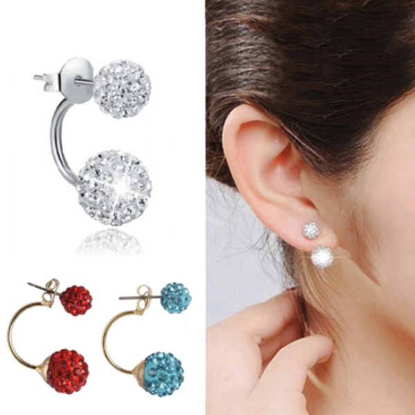 Double Sided Beads Ball Earrings