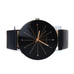 Black Leather Quartz Analog Watch