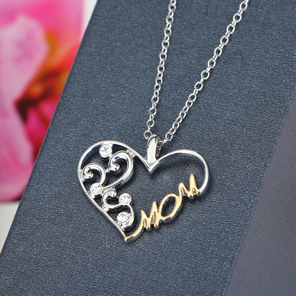 Double Color Mom Heart Pendant Necklace