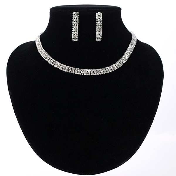 Rhinestone Crystal Necklace Set