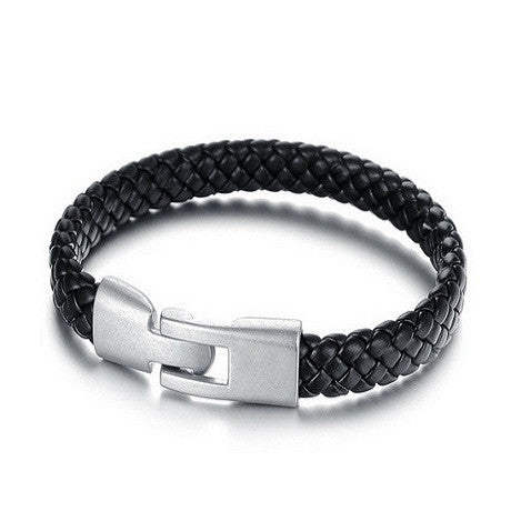 Handmade Genuine Leather Knitted Men's Bracelet - Florence Scovel - 1