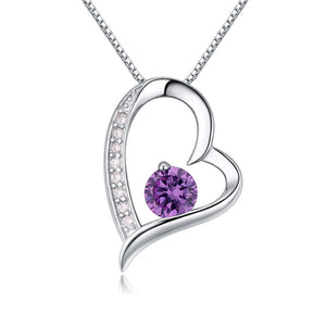 Crystal Heart Silver Pendant(Purple) - Florence Scovel - 1